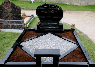 Rugby Headstone Black Granite